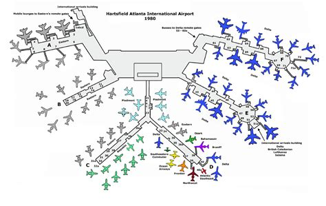 layout of atlanta airport atl in 1980 the final year sunshine skies
