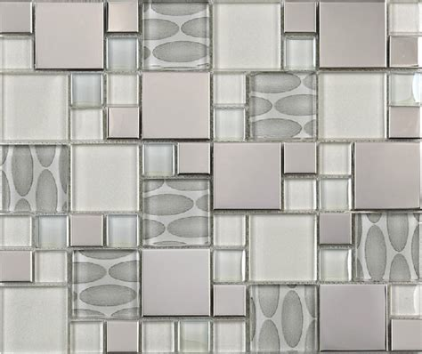 glass mosaic tile backsplash ssmt109 silver metal mosaic
