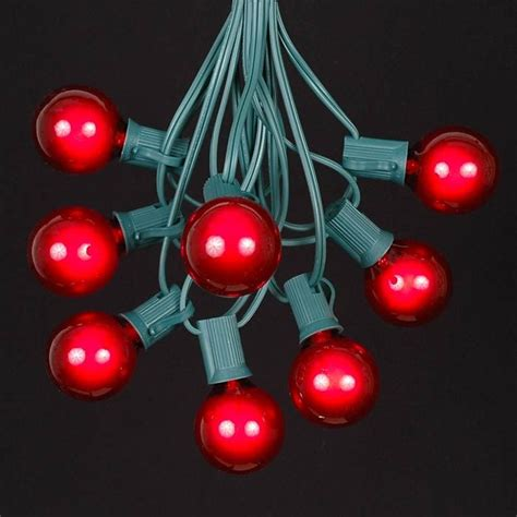 Red G40 Globe Round Outdoor String Light Set On Green Wire Novelty Outdoor String Lights