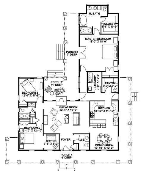 floor plans for ranch homes with wrap around porch traditional house plan first floor 028d 0054 house
