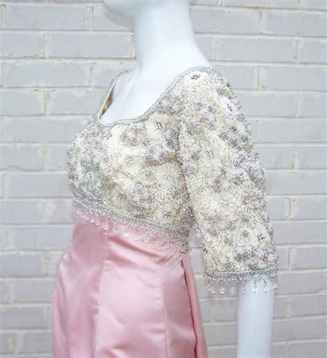 Pretty In Pink Retro Silk Dress by Pretty In Pink 1950 S Silk Satin Beaded Princess Dress
