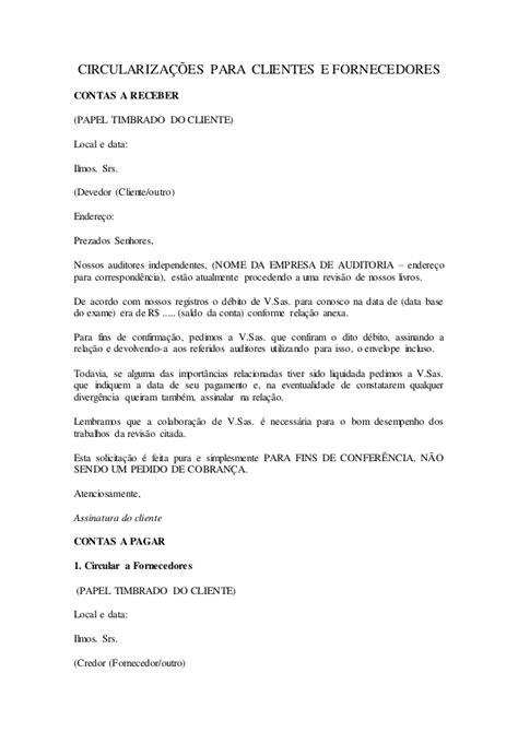 carta de licitacion modelo modelo de carta de circulariza 231 227 o clientes e fornecedores