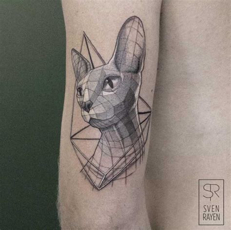 cat tattoo artist low poly geometric animal tattoos by belgian artist sven