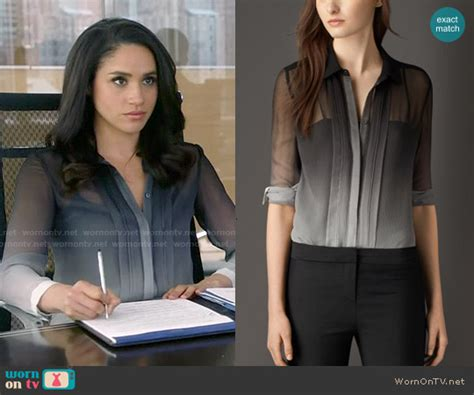 From Suits Wardrobe by Wornontv Rachel S Ombre Blouse On Suits Meghan Markle