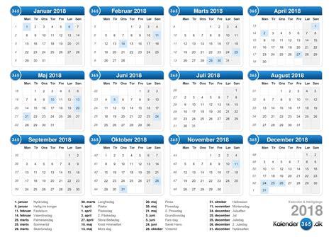 Kalender 2018 Med Uger Kalender 2018
