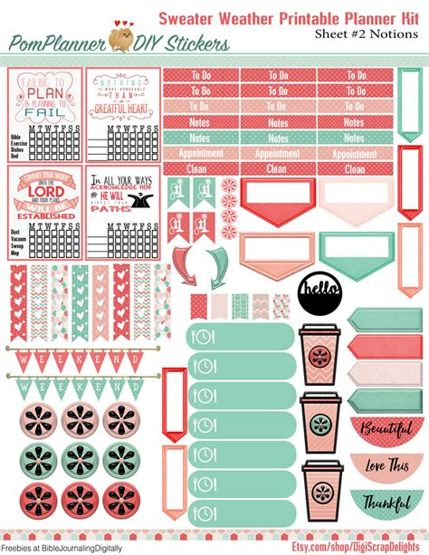 printable planner kits winter planner kits and free planner stickers