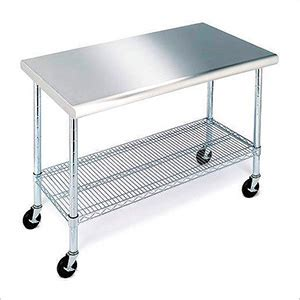 stainless steel table with casters seville classics she18308zw stainless steel work table