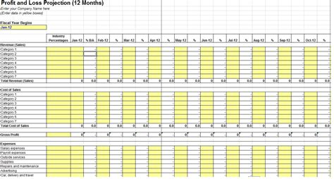 12 month profit and loss projection template sle