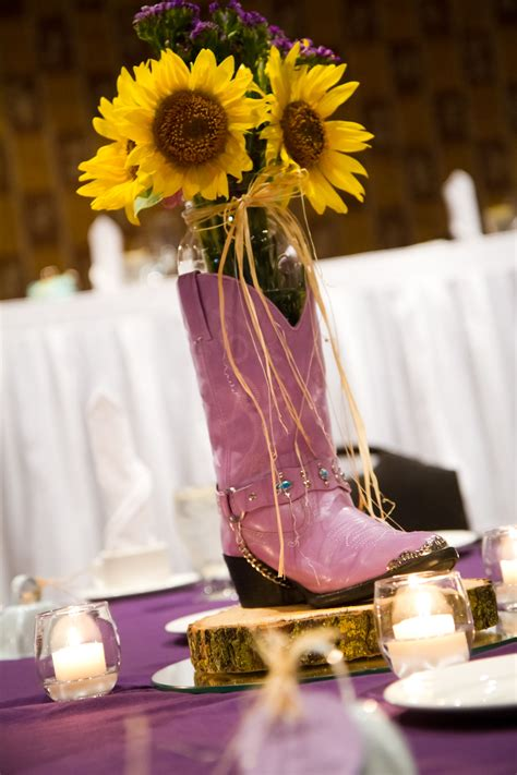 purple cowboy boots worked for centerpieces too wedding