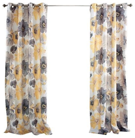yellow window curtains leah window curtain set yellow and gray curtains by