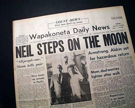 best neil armstrong moon landing newspaper