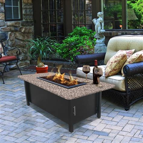 Outdoor Fire Pit Coffee Table Carmel Chat Height Multifunctional with Reflection Glass
