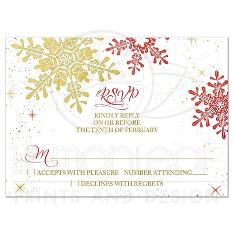 wedding response cards gold snowflake winter wedding rsvp reply card