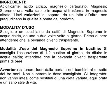 magnesio supremo ingredienti magnesio supremo ingredienti