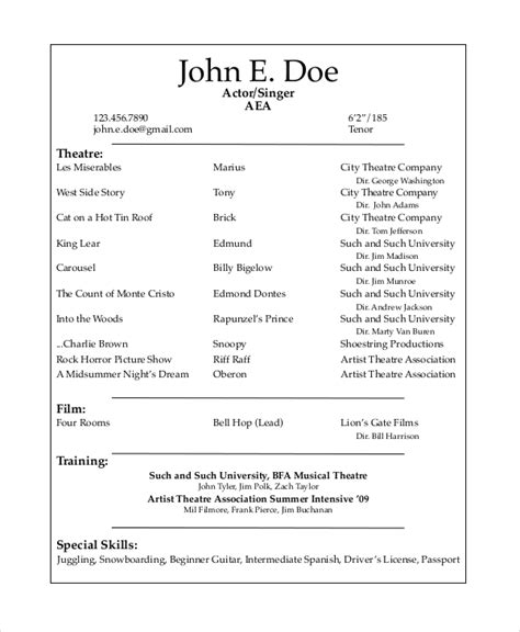 theater resume template   word  documents