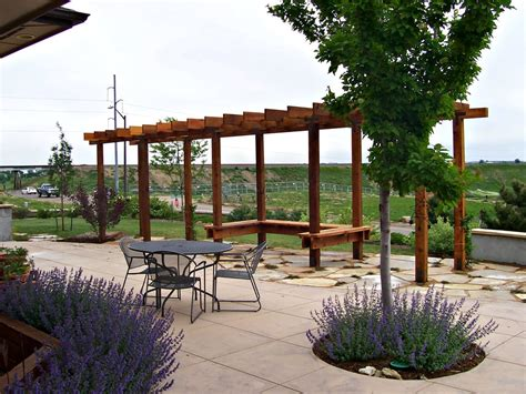 Cedar Pergola With Natural Flagstone Patio Yelp Summit Lawn And Landscape
