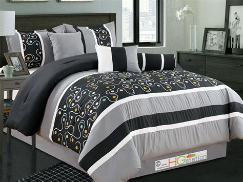off white comforter set 7p dots circles scroll clover embroidery comforter set