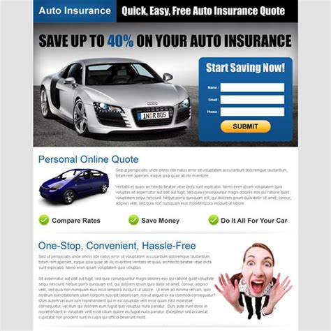 Free Car Insurance Quotes by Auto Insurance Landing Page Design To Capture Leads And