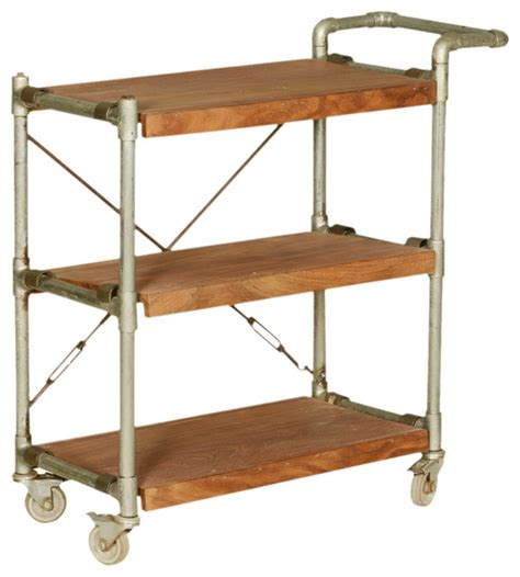 Dining Table Kitchen Island Industrial Mango Wood Amp Iron 3 Tier Rolling Tea Cart With