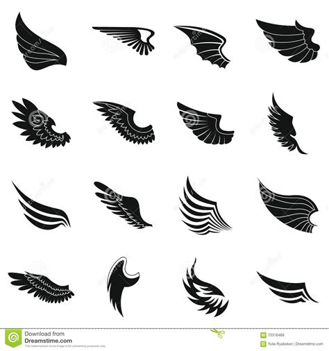 wings icons set black simple style stock vector image