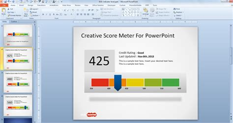 Free Creative Score Meter Template For Powerpoint Free Powerpoint Templates Slidehunter Com Powerpoint Scoreboard Template