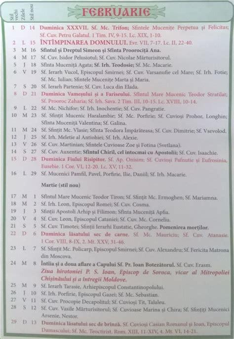 Calendar Ortodox Calendar Crestin Ortodox 2016 2017 Stil Vechi Republica