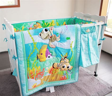 Underwater Crib Bedding 2015 New Underwater World Pattern Baby Bedding Sets 8 Pcs Bumper Blanket Mattress Cover