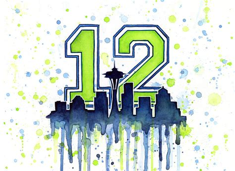 Seahawks Decor Seattle Seahawks 12th Man Art Painting By Olga Shvartsur