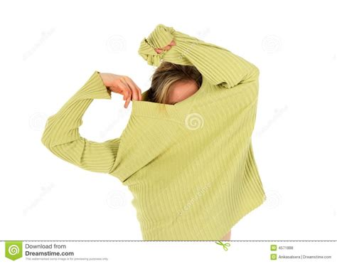 takes a green sweater royalty free stock