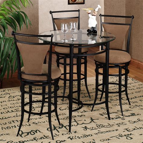 Cafe Style Dining Table Luxurious Cafe Seating With Black Bar Stool Design Combined Brown Fabric Cushioning Also Rounded