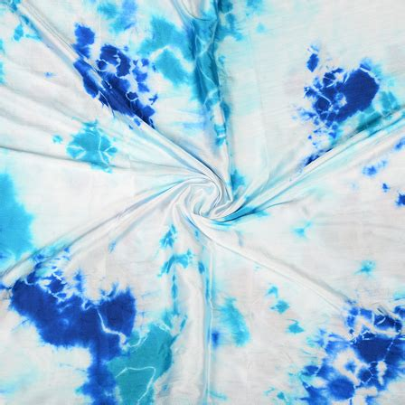 Batik Satin buy white and blue batik satin fabric 32036