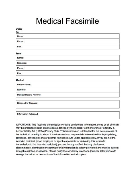 free printable medical fax cover sheet fax cover for medical applications and professions
