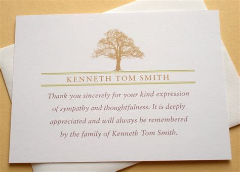 Thank You Note Quotes Sympathy Funeral Thank You Notes With A Strong Tree Personalized Flat Cards Trees Sympathy Thank