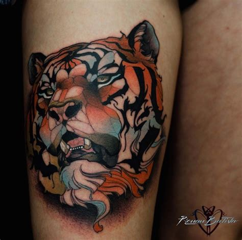 steady tattoo new school style colored thigh of steady tiger