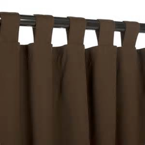 brown tab top curtains bay brown sunbrella outdoor curtains with tabs