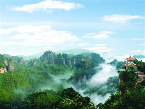 wallpaper danxia mountain beautiful scenery pavilion