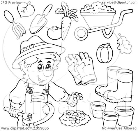 gardening coloring pages for kindergarten royalty free vector clip art illustration of a digital