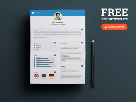 free business card portfolio template 25 best free resume cv templates psd psd