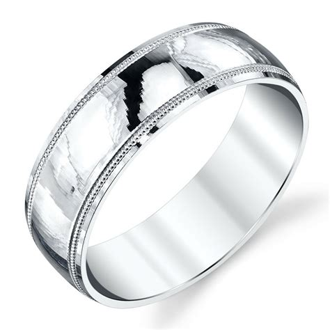 sterling silver mens wedding band ring milgrain