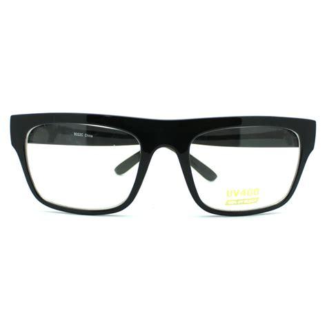 black nerdy square rectangular horn rimmed clear lens