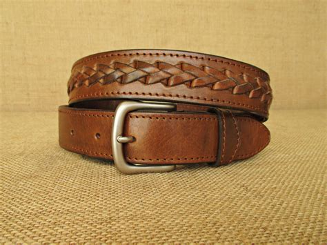 handmade braided leather belt mens belt with braiding womens