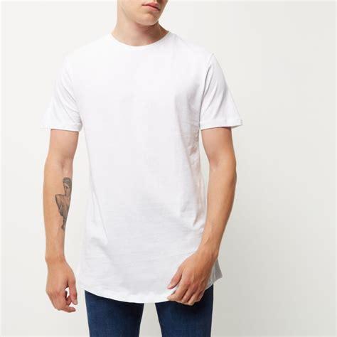 Tshirt Longline white curved hem longline t shirt t shirts t shirts