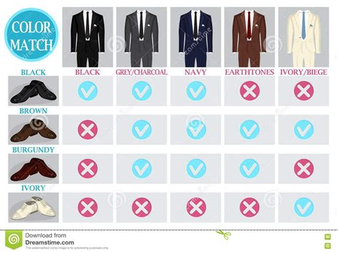 suit color guide color mix match guide for shoes and suit vector