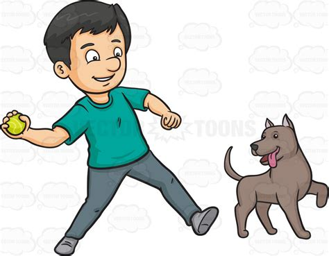 to play with puppy a throwing a to play with his clipart vector