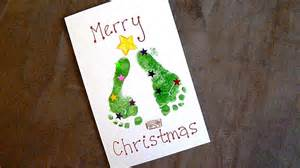 baby holiday craft easy footprint christmas cards