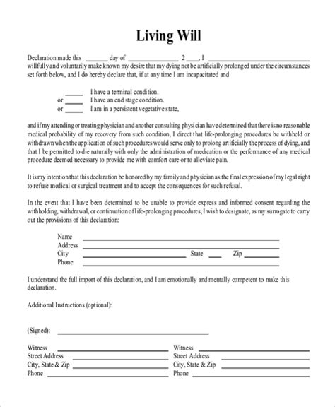 Sle Free Living Will Form 8 Free Documents In Doc Pdf Living Will Form Template