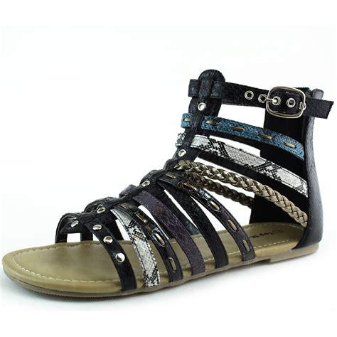 zipper sandals black strappy gladiator flats open toe back zipper