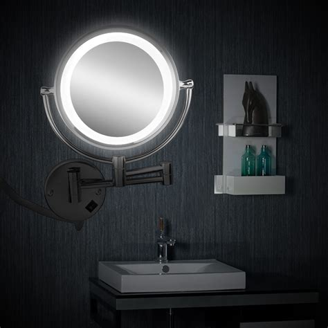 magnification led lighted wall mount makeup mirror led bathroom shaving ebay
