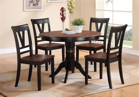 5 pcs country style 2 tone black cherry wood table