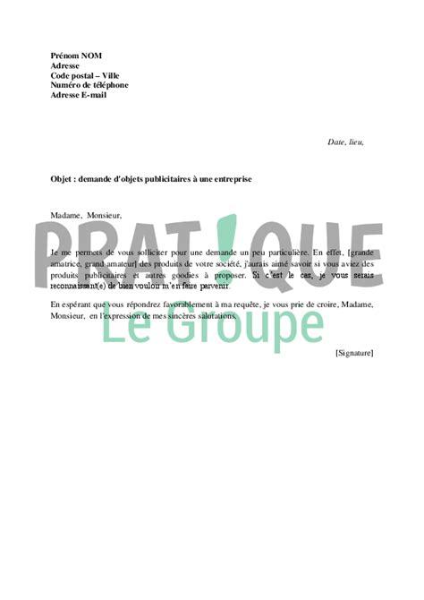 Objet Demande De Lettre De Recommandation Lettre De Demande D Objets Publicitaires 224 Une Entreprise
